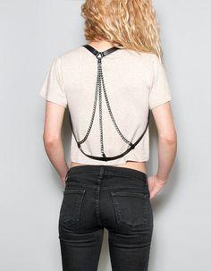 b9dbb015c JAKIMAC Triple Chain Harness   Draped Genuine Leather Harness with Three  Black