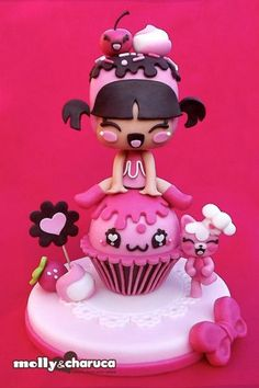Molly & Charuca really cute cake Gorgeous Cakes, Pretty Cakes, Cute Cakes, Amazing Cakes, Fondant Figures, Fondant Cakes, Cupcake Cakes, Cake Topper Tutorial, Cake Toppers