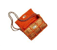 Chanel Orange Sequin/Shearling Bag