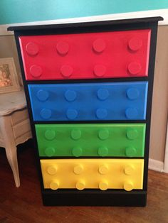 Boys lego dresser i made ! - My Own Designs - Lego Repurposed Furniture, Kids Furniture, Bedroom Furniture, Furniture Movers, Refurbished Furniture, Furniture Outlet, Cheap Furniture, Discount Furniture, Bedroom Themes