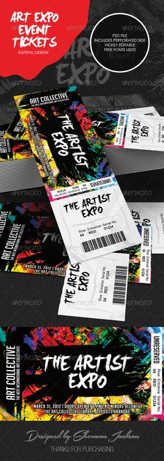 Vector illustration of a set of colorful concert ticket templates - create a ticket template