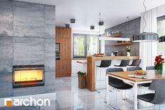 Dom w srebrzykach - Strefa dzienna - zdjęcie od ARCHON+ Biuro Projektów Kitchen Dinning, Dining Room, House 2, Decoration, Table, House Plans, Sweet Home, House Design, Inspiration