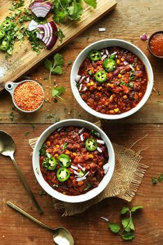 1 POT, AMAZING Lentil and Black Bean Chili! Smoky, hearty, PROTEIN and fiber packed!