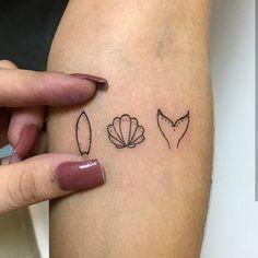 A minimalist beach vibe tattoo inked on the forearm Shell Tattoos, Up Tattoos, Mini Tattoos, Finger Tattoos, Body Art Tattoos, Tatoos, Tattoo Ink, Beach Henna Tattoos, Henna Tattoo Designs