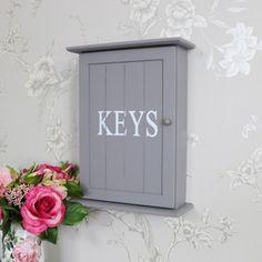 Grey Wall Mounted Wooden Key Cabinet Wall Mounted Key Holder, Key Cabinet, Urban Kitchen, Key Storage, Key Box, Wall Shelf Decor, Key Hooks, Bedroom Accessories, Painting Cabinets