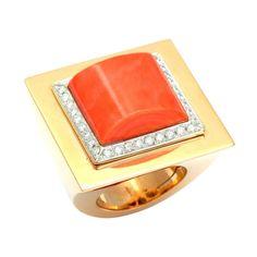 1stdibs.com | 1980s Coral and Diamond Ring