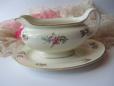 Household Institute Priscilla Pattern History | Vintage Homer Laughlin Priscilla Pink Floral Gravy Boat and Underplate ...