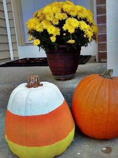 Candy Corn Painted Pumpkin