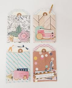 Set of 4 Mini Envelope Pockets for Project by GlitterartzyCrafts