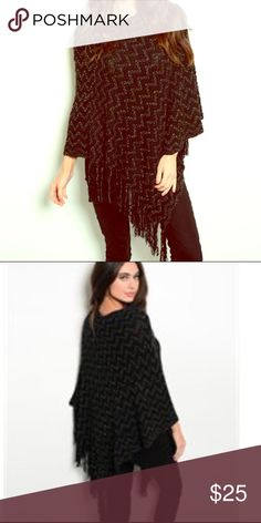 Black & Gold Poncho Beautiful black & gold poncho. Goes great with any outfit. Great for winter. Sweaters Shrugs & Ponchos