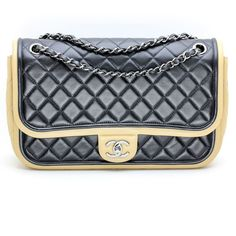 1c749eac1526 Chanel Jumbo Classic Quilted Flap Bag Two Tone Black/Beige with Silver  Hardware #Chanel
