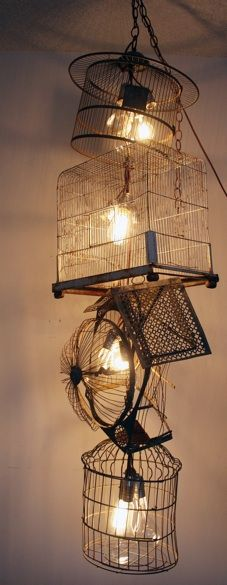 birdcage chandelier. Yep, Birdcage Chandelier! love the idea, the result is good too #upcycling
