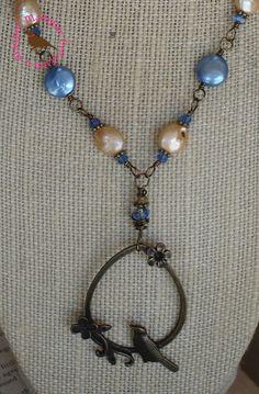 Merry Meadowlark Vintage Bronze Sky Blue by MagpieMadnessJewelry, $45.00
