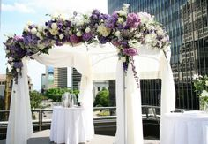 Elegant purple floral huppah | Red Gallery Photography | Flowers on Orchard Lane