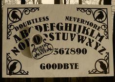 Hand Finished Wooden Raven Talking Board Set Complete with Wooden Planchette, Inspired by Edgar Allan Poe Poem The Raven Ouija, Star Designs, Stars And Moon, Runes, Boards, It Is Finished, Hand Painted, Edgar Allan, Lettering