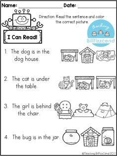 Good reading comprehension activity for my infantile students, and it focuses on prepositions. Great for kindergarten, first grade or ESL students. Picture Comprehension, Reading Comprehension Activities, Reading Worksheets, Reading Fluency, Worksheets For Kids, Kindergarten Worksheets, Preposition Activities, First Grade Activities, English Activities For Kids