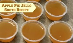 This Apple Pie Jello Shot recipe is a taste of fall in a party shot! Simple to make, these Apple Pie Jello Shots are great for parties, tailgating, and more! Apple Pie Shots, Apple Pie Drink, Apple Pie Liquor Recipe, Apple Pie Recipes, Apple Pie Vodka, Apple Pie Sangria, Apple Pie Moonshine, Pumpkin Pie Moonshine Recipe, Fall Drinks Alcohol
