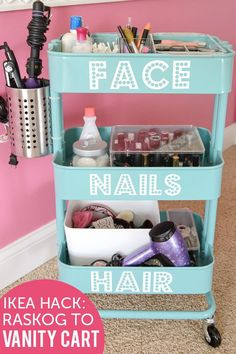 Organize your make-up supply using a Råskog cart with added labels. | 27 Incredibly Fun And Creative Ways To Transform Ikea Products