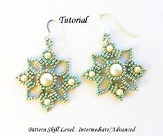 VENETIAN LACE beaded earrings beading tutorials por PeyoteBeadArt