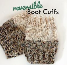 Two-Toned Boot Cuffs | AllFreeKnitting.com. I love the idea of making cuffs in two colors and made a set with heather gray on one end and heathered blue on the other. Love them!
