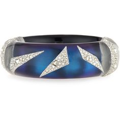 Alexis Bittar Crystal-Encrusted Origami Cuff Bracelet (£275) ❤ liked on Polyvore featuring jewelry, bracelets, blue, hinged bangle, alexis bittar jewelry, alexis bittar, hinged cuff bracelet and blue jewelry