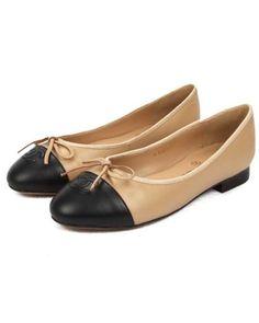 Chanel Flat Ballet Shoes Bowknot Sheepskin Khaki 2903