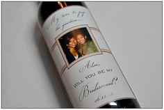 Personalized Bridesmaid Wedding Wine Label - SET OF 5 - Will you be my Bridesmaid - Personalized Label