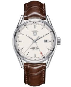 TAG Heuer Men's Swiss Automatic Carrera Calibre 7 Twin-Time Brown Leather Strap Watch 41mm WAR2011.FC6291