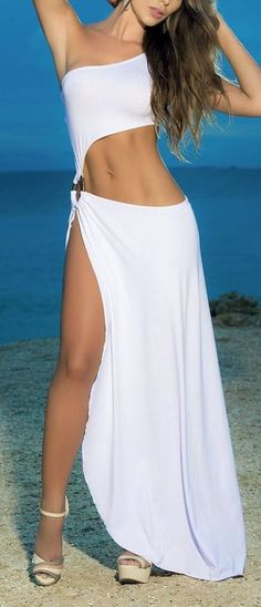 This slinky asymmetrical cover-up and beach dress bares your midriff and is cinched at the side with a wood look ring. The one-shoulder style has a maxi hemline with a single side slit all the way to the hip. Available in Black or White. Beach Dresses, Club Dresses, Sexy Dresses, Summer Dresses, Dress Beach, Sexy Party Dress, Hot Dress, Sexy Outfits, Bathing Suit Covers
