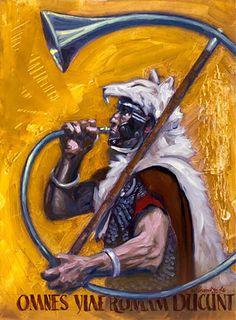 """Roman Cornicen"", by Brian Lei. Ancient Rome, Ancient History, Rafting, Roman Legion, Medieval World, Roman History, Illustrations, Dark Ages, Military Art"