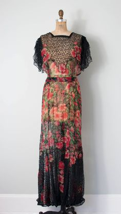 vintage 1930s silk chiffon and lace gown • 30s bias cut dress by SwaneeGRACE