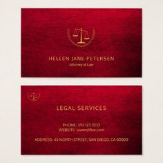 Lawyer upscale elegant gold ruby red leather look business card - lawyer business diy personalize custom