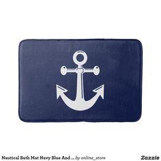 Nautical Bath Mat Navy Blue And White Anchor
