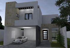Fachada moderna de dos pisos con garaje techado