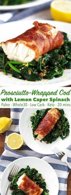 A healthy elegant dinner in only 20 minutes! This prosciutto-wrapped cod is paleo low carb and a great weeknight meal! A healthy elegant dinner in only 20 minutes! This prosciutto-wrapped cod is paleo low carb and a great weeknight meal! Fish Dishes, Seafood Dishes, Seafood Recipes, Seafood Menu, Paleo Fish Recipes, Paleo Meals, Low Carb Recipes, Yummy Recipes, Cooking Recipes