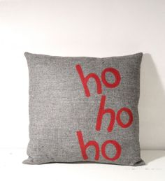 Ho Ho Ho Gray Christmas Pillow - Another Collection of 17 Christmas Pillow Designs