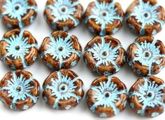 12mm Pansy flower bead, Brown and Blue Inlays Czech glass Flowers, Daisy, Rustic floral beads - 10pc - 2832 by MayaHoney on Etsy
