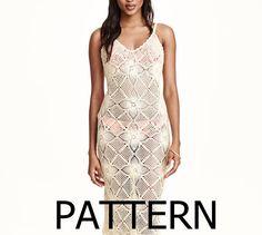 PATTERN long sexy crochet dress summer beach top skirt