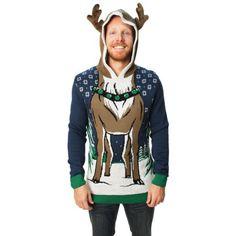 Ugly Christmas Sweater Men's Hooded Reindeer Sweater