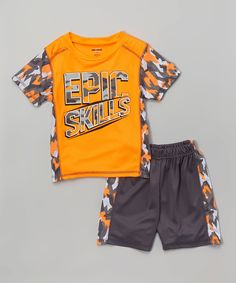 Another great find on #zulily! DRI-MAXX Orange & Gray 'Epic Skills' Tee & Shorts - Infant, Toddler & Boys by DRI-MAXX #zulilyfinds