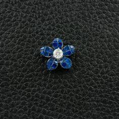 Sapphire & Diamond Flower Pendant