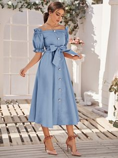 Light Blue Dresses, Blue Dress Casual, Classy Dress, Classy Outfits, Long Casual Dresses, Simple Dresses, Elegant Dresses, Pretty Dresses, Beautiful Dresses