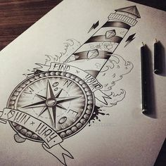 Nautical-Compass-And-Lighthouse-Tattoo-Design.jpg (600×600)
