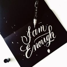 A little break from work. A friendly reminder not to think that as a woman you are always inadequate to the people around you because you are just enough. So go ahead love yourself!  #calligrafikas #brushpen