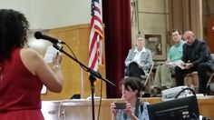 Mother addresses the panel at Creston.