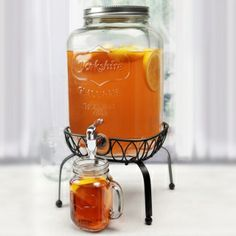Georgia Peach Mason Jar Beverage Dispenser w/ Stand