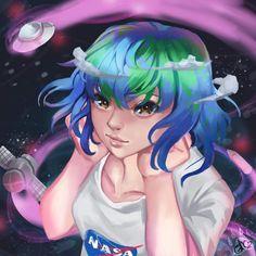 Earth-chan is an anime-style anthropomorphic representation of the planet Earth. Popular Anime, Flat Earth, Anime People, Anime Girl Cute, Image Macro, Anime Style, Female Art, Manga, Moon Moon