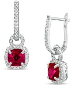 Zales 4.0mm Heart-Shaped Lab-Created Ruby and 1/10 CT. T.w. Diamond Crawler Earrings in Sterling Silver 0V0TanOC1R