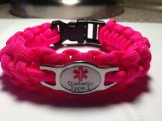 Custom Paracord Diabetic Medical Alert Bracelets - Choose charm message