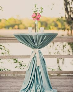 Wedding Cocktail Hour Decorations   Weddings Romantique  Love this look - no tablecloth tails to trip over or get pulled